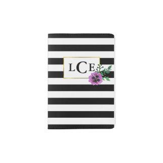 Black Stripe & Purple Pansy Monogram Passport Case