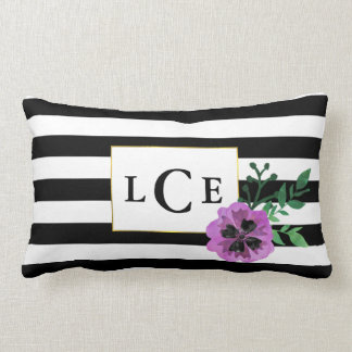 Black Stripe & Purple Pansy Monogram Throw Pillow