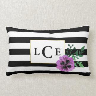 Black Stripe & Purple Pansy Monogram Throw Pillow