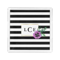 Black Stripe & Purple Pansy Monogram Tray