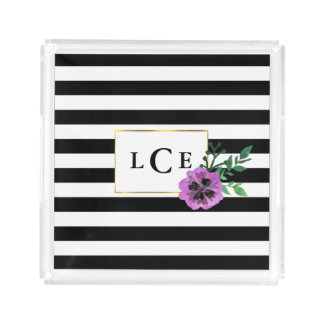 Black Stripe & Purple Pansy Monogram Tray