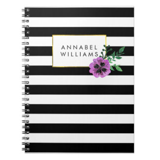 Black Stripe & Purple Pansy Notebook