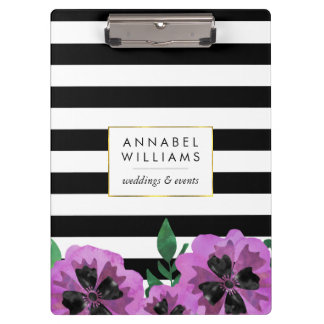 Black Stripe & Purple Pansy Personalized Clipboard