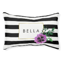 Black Stripe & Purple Pansy Personalized Dog Bed