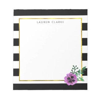Black Stripe & Purple Pansy Personalized Notepad