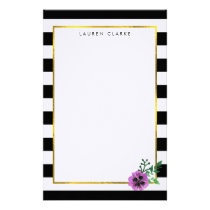 Black Stripe Purple Pansy Personalized Stationery