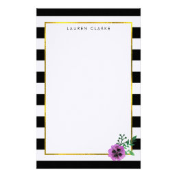 Black Stripe Purple Pansy Personalized Stationery