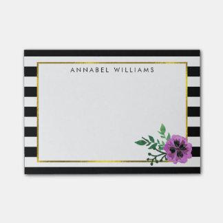 Black Stripe & Purple Pansy Post-it® Notes