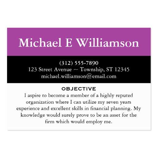 Black Stripe Purple RESUME Business Cards