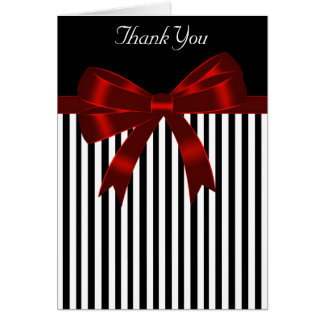 Black Stripe Red Bow Thank You Card