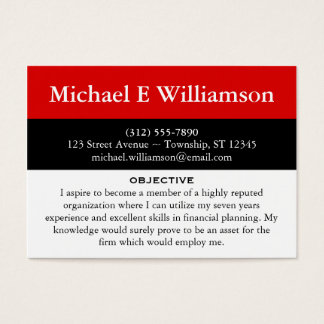 black stripe red resume business cards