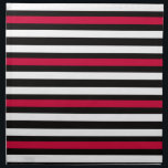 "Black Stripe Red White Napkin<br><div class=""desc"">Thin striped pattern in white,  black and red.</div>"