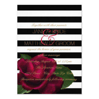 "Black Stripe Rose Red and Black Wedding 4.5"" X 6.25"" Invitation Card"
