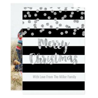 Black Stripe Silver Confetti Merry Christmas Photo Card