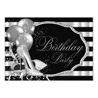 Black Stripe Silver High Heels Birthday Party 5x7 Paper Invitation Card