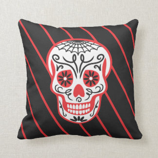 black stripe sugar skull pillows