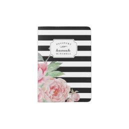 Black Stripe & Vintage Pink Peony Passport Holder