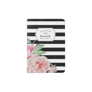 Black Stripe & Vintage Pink Peony Passport Holder