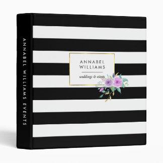 Black Stripe & Violet Floral Personalized Binder