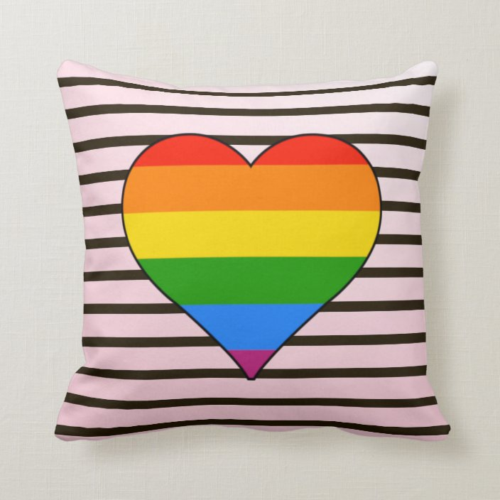 Black Stripe With Cute Rainbow Heart Throw Pillow Zazzle Com
