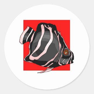 Black Striped Angel Fish Stickers