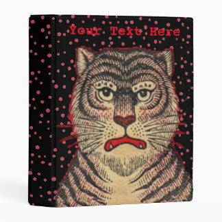 Black Striped Asian Tiger Head Fierce Face Mini Binder