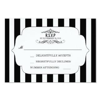 Black Striped Chic Wedding RSVP Cards