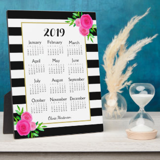 Black Striped Floral Monogram 2019 Desk Calendar Plaque