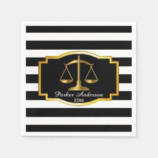 Black Striped Gold Law Scales Graduation Party Paper Napkin