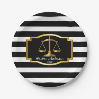 Black Striped Gold Law Scales Graduation Party Paper Plate