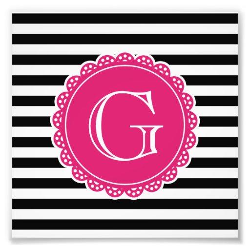 Black Striped Pattern Hot Pink Monogram Photo Print