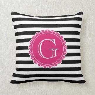 Black Striped Pattern Hot Pink Monogram Throw Pillows