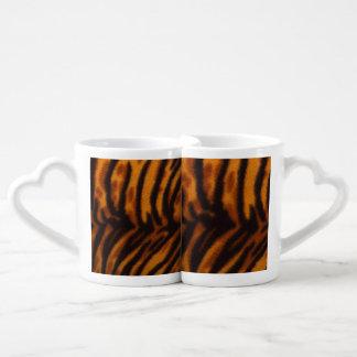 Black Striped Tiger fur or Skin Texture Template Coffee Mug Set