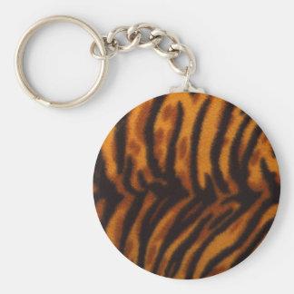 Black Striped Tiger fur or Skin Texture Template Keychain