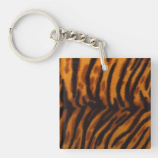 Black Striped Tiger fur or Skin Texture Template Keychain