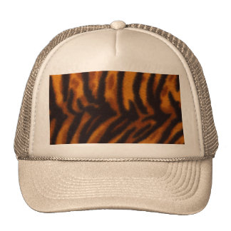 Black Striped Tiger fur or Skin Texture Template Trucker Hat