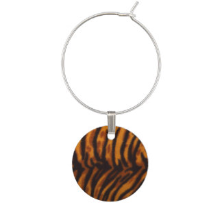 Black Striped Tiger fur or Skin Texture Template Wine Charm