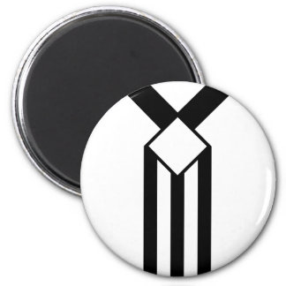 Black Stripes and Chevrons on White 2 Inch Round Magnet