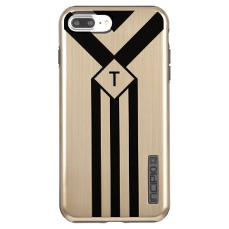 Black Stripes and Chevrons with Monogram on Gold Incipio DualPro Shine iPhone 7 Plus Case