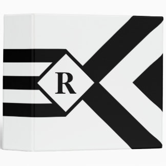 Black Stripes and Chevrons with Monogram on White 3 Ring Binder