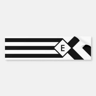 Black Stripes and Chevrons with Monogram on White Bumper Sticker