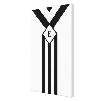 Black Stripes and Chevrons with Monogram on White Canvas Print