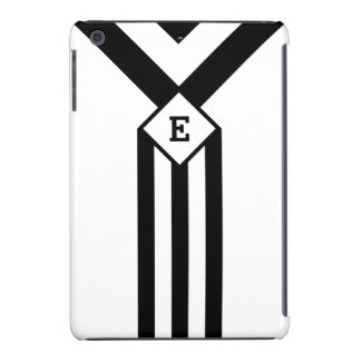 Black Stripes and Chevrons with Monogram on White iPad Mini Cover