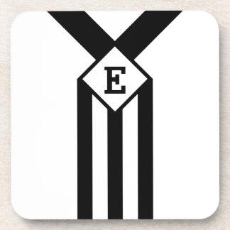 Black Stripes and Chevrons with Monogram on White Coaster