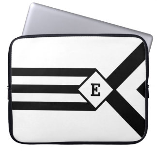 Black Stripes and Chevrons with Monogram on White Computer Sleeve