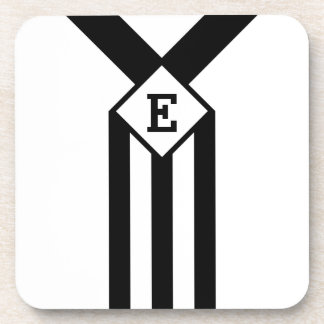 Black Stripes and Chevrons with Monogram on White Coasters