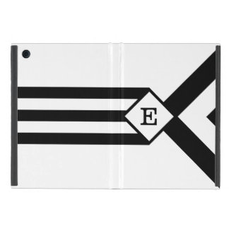 Black Stripes and Chevrons with Monogram on White Cover For iPad Mini
