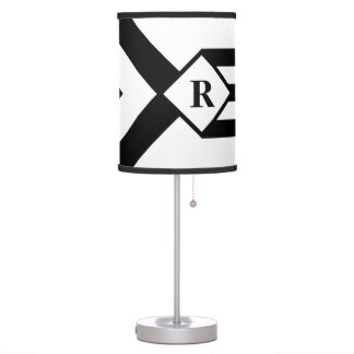 Black Stripes and Chevrons with Monogram on White Desk Lamp