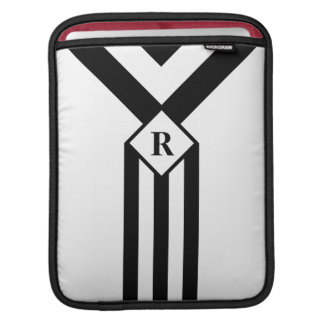 Black Stripes and Chevrons with Monogram on White Sleeve For iPads