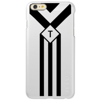 Black Stripes and Chevrons with Monogram on White Incipio Feather® Shine iPhone 6 Plus Case